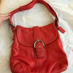 Red Leather Coach Handbag